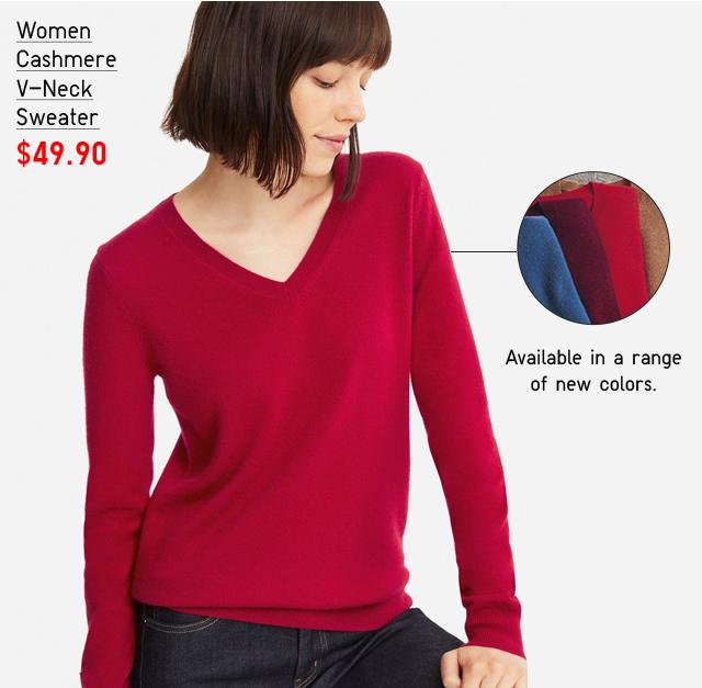 WOMEN CASHMERE V-NECK SWEATER $49.90