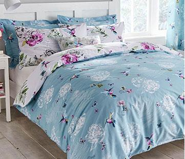 8410276aa633 Heavenly Hummingbird Reversible Duck Egg Duvet Cover and Pillowcase Set