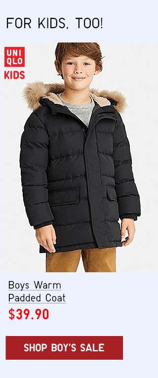 BOYS WARM PADDED COAT $39.90 - SHOP BOY'S SALE