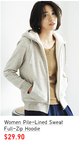WOMEN PILE-LINED SWEAT FULL-ZIP HOODIE $29.90