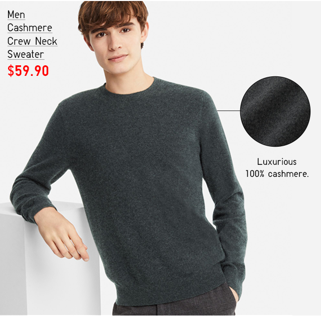 MEN CASHMERE CREW NECK SWEATER $59.90