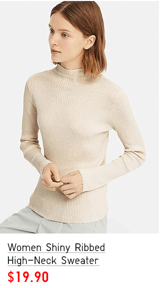 WOMEN SHINY RIBBED HIGH-NECK SWEATER $19.90