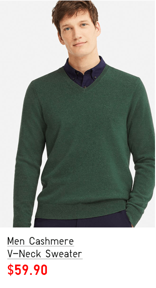 MEN CASHMERE V-NECK SWEATER $59.90
