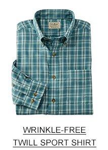 Wrinkle-free twill sport shirt