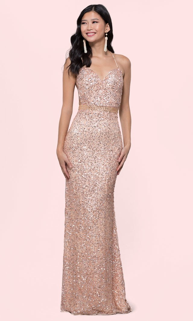 8562379ae4 Long Sequin-Mesh Formal Sweetheart Dress by PromGirl