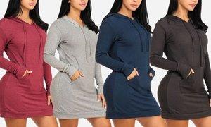 Women's Long Sleeve Hooded Kangaroo Mini Sweater Dress