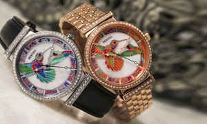 Bertha Emily Hummingbird Engraved Mother-Of-Pearl Watch with Necklace