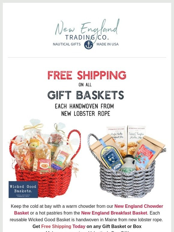 The New England Trading Company: Today: Free Shipping on All Lobster Rope Gift Baskets | Milled