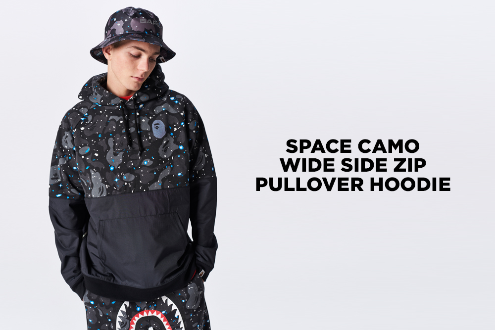 The Space Camo Wide Side Zip Pullover Hoodie will be available this weekend  in two colors  black and white. It will be available at BAPE® ... efbf39650e