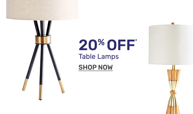 Shop table lamps twenty percent off.