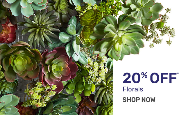 Shop florals twenty percent off.