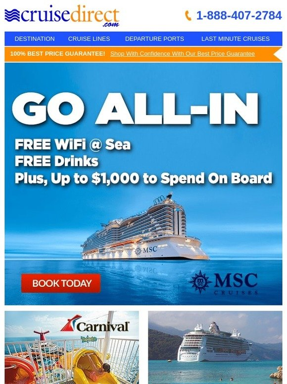 CruiseDirect: 🚢 Cruise All-In with MSC: Free Drinks, WiFI