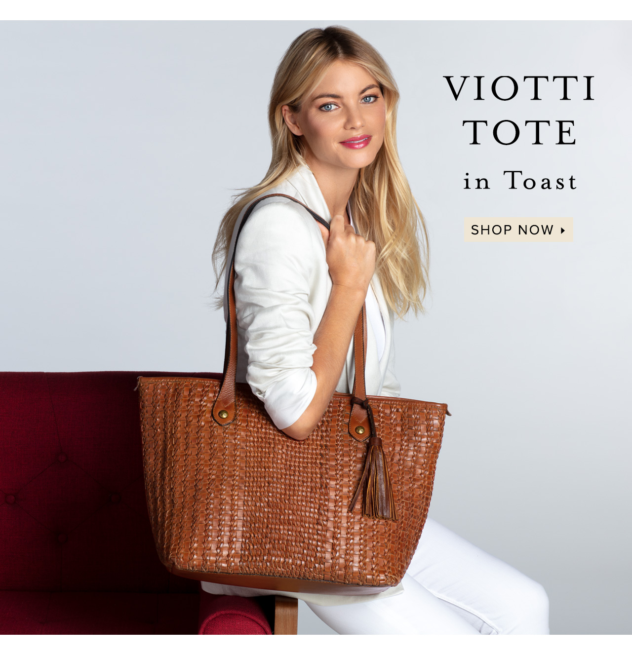 7863bf1355be Shop the Viotti Tote in Woven Braided Toast