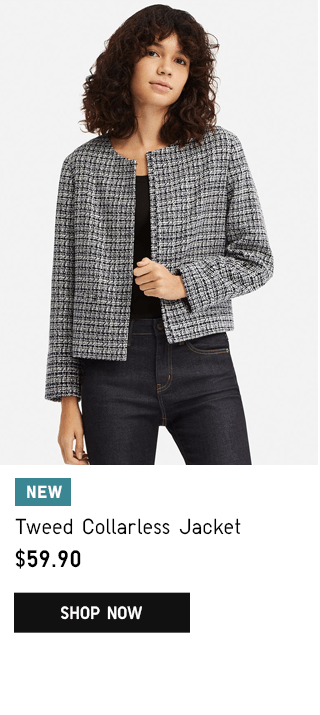 TWEED COLLARLESS JACKET $59.90 - SHOP NOW