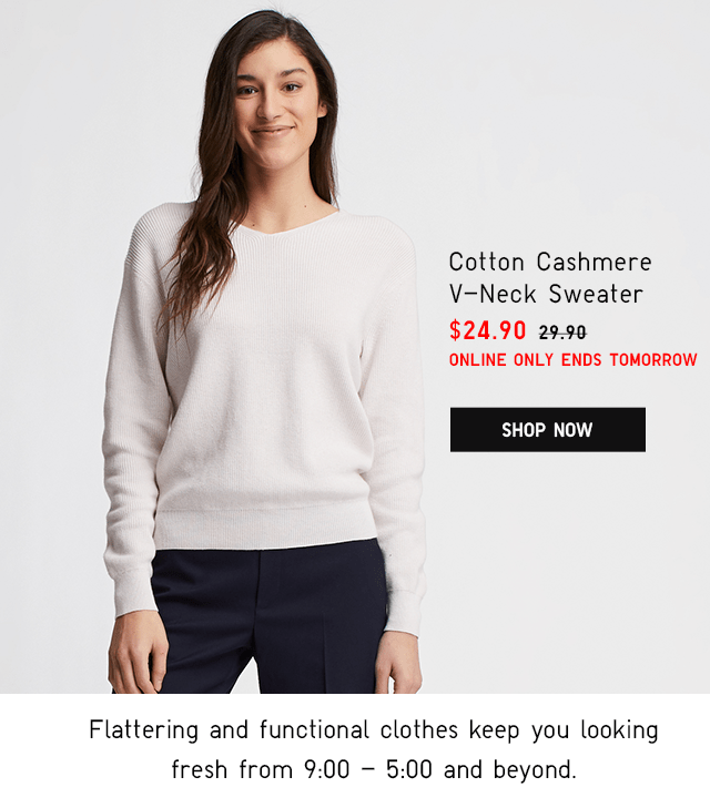 COTTON CASHMERE V-NECK SWEATER $24.90 - SHOP NOW