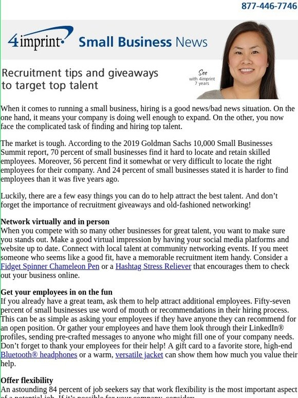4imprint Inc : Small Business News: Recruitment tips and giveaways