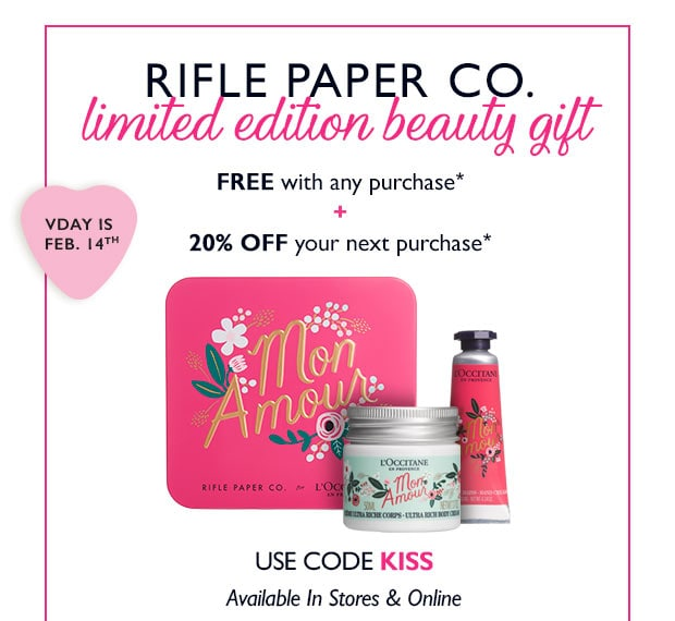 LIMITED EDITION GIFT FREE WITH ANY PURCHASE* + 20% OFF YOUR NEXT PURCHASE**