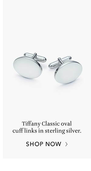Shop Now: Sterling Silver Tiffany Classic oval cuff links