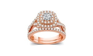 1 1/4 CTTW Diamond Double Frame Bridal Set In 14K Rose Gold by DeCarat