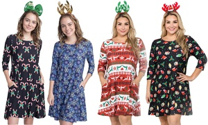 Women's Christmas Print Dress with Headband. Plus Sizes Available.