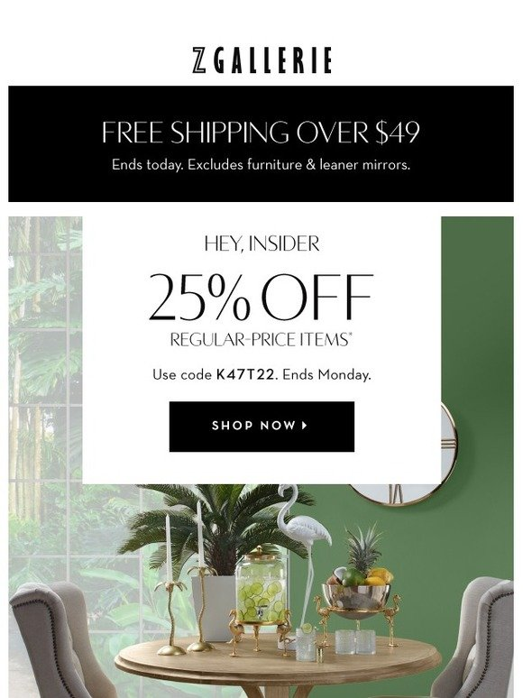 free shipping z gallerie coupon code