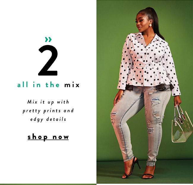 Mix it up with pretty prints and edgy details - Shop Now