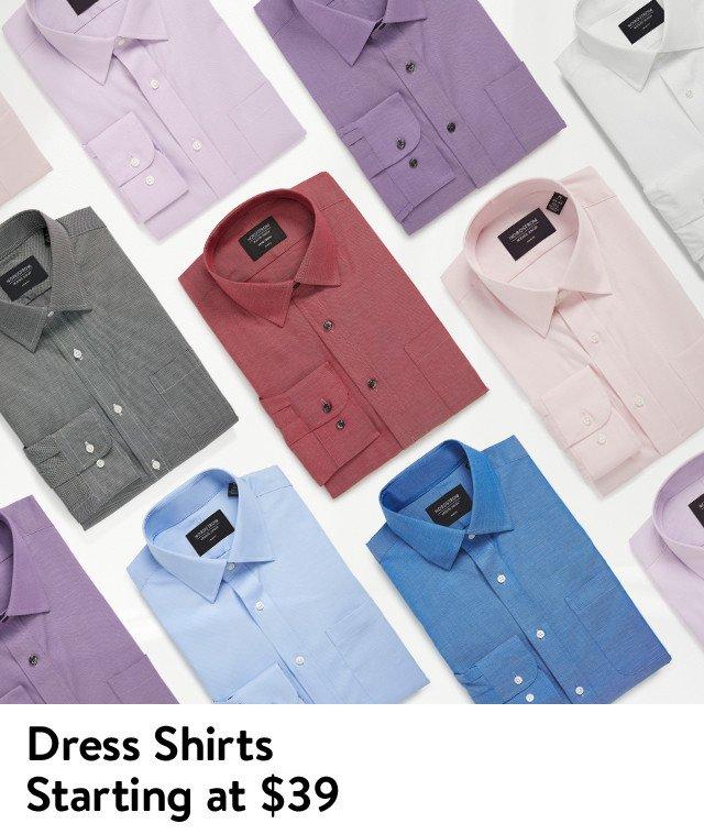 Men's dress shirts starting at $39.