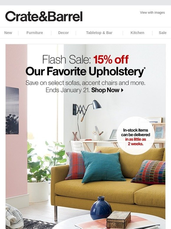 Crate And Barrel Upholstery Flash Sale Starts Now Milled