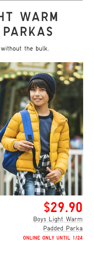 BOYS LIGHT WARM PADDED PARKA $29.90 - SHOP BOYS