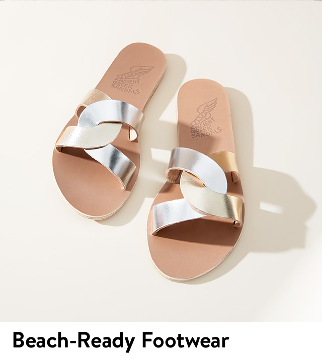 Beach-ready sandals and footwear for women.