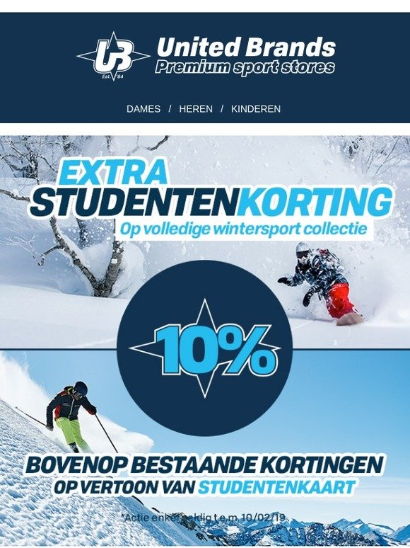 4e72fdfb03a Unitedbrands.be: 10% extra studentenkorting op volledige wintersport  collectie! | Milled