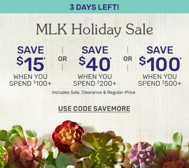 Three days left to shop the MLK holiday sale! Save fifteen dollars when you spend one hundred dollars or more. Save forty dollars when you spend two hundred dollars or more. Save one hundred dollars when you spend five hundred dollars or more.