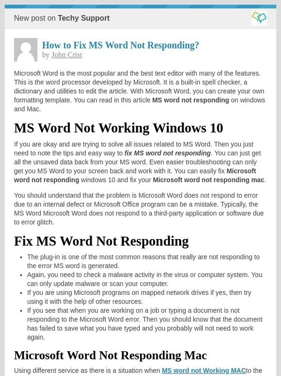 Techy Support: [New post] How to Fix MS Word Not Responding