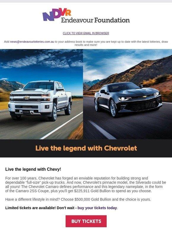Endeavour Lotteries: Win a Chevy Silverado + Camaro 2SS Coupe + Gold