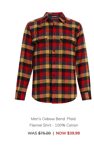 Men's Oxbow Bend Plaid Flannel Shirt – 100% Cotton Was: $75.00 Now: $39.99