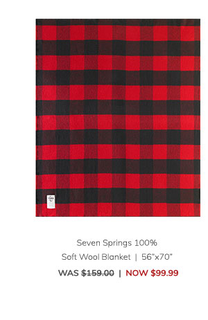 "Seven Springs 100% Soft Wool Blanket (56""x70"") Was: $159.00 Now: $99.99"