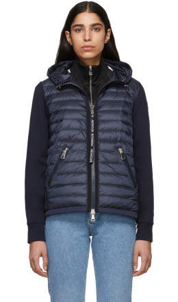 Moncler - Navy Knit Combo Hooded Jacket