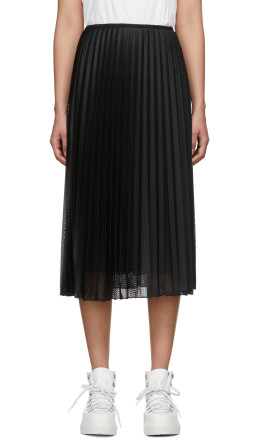 Moncler - Black Pleated Mesh Skirt