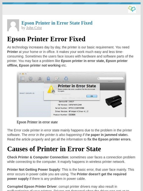 Techy Support: [New post] Epson Printer in Error State Fixed | Milled