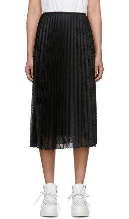 Moncler - Black Pleated Mesh Skirt