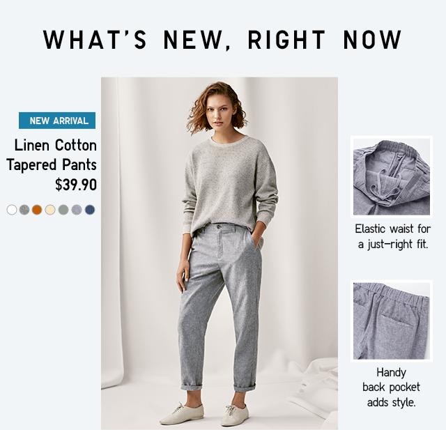 LINEN COTTON TAPERED PANTS $29.90