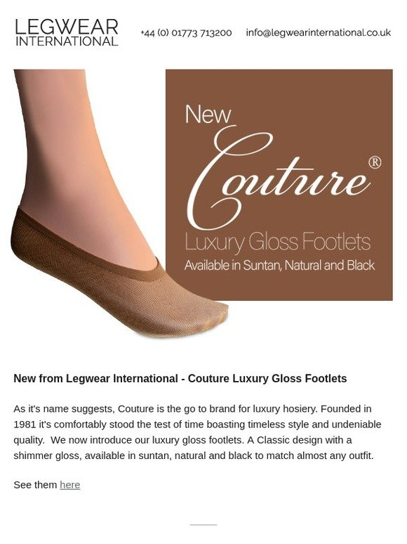 7f8c8a396 legwearinternational.co.uk  New from Legwear International - Couture Luxury  Gloss Footlets