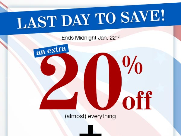 Get An Extra 20% OFF (almost everything) PLUS FREE Shipping on orders of $39 or more! Use promo code MLKXRC at checkout.
