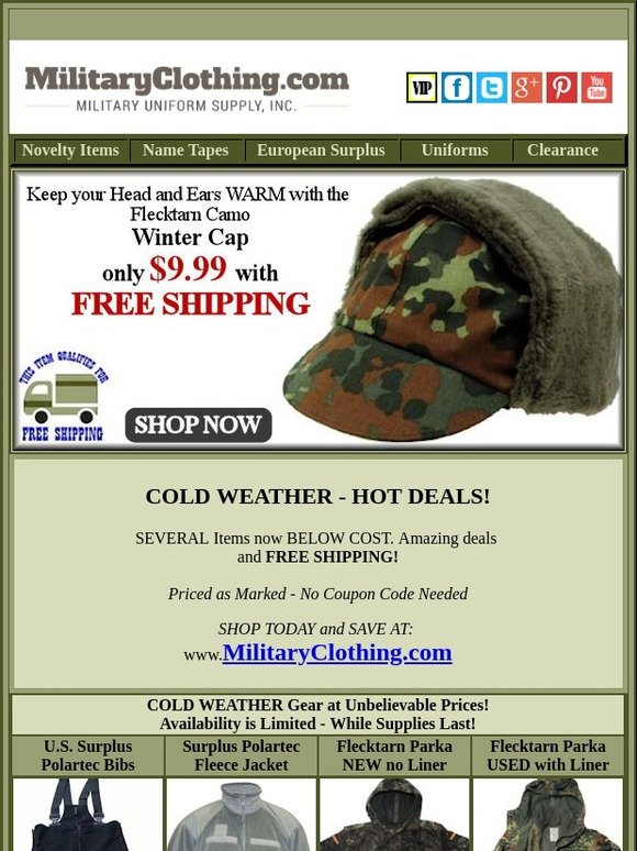 Military Uniform Supply: Cold Weather - Hot Deals! Don't