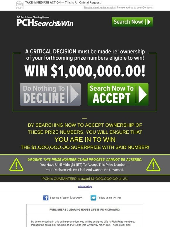 Publishers Clearing House: -DECISION IS FINAL | Milled