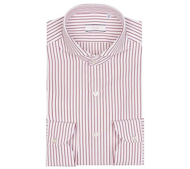 c62f3e542600a0 Fralbo - White and Bordeaux Egyptian Cotton Stripe Shirt