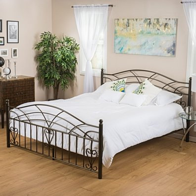 Edsel Queen Size Copper Gold Finish Iron Bed Frame