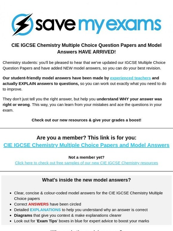 Save My Exams: CIE IGCSE Chemistry Multiple Choice Resources now