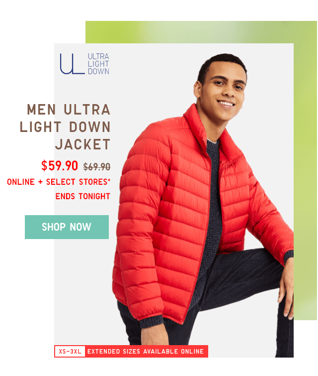 MEN ULTRA LIGHT DOWN JACKET $59.90 - SHOP NOW