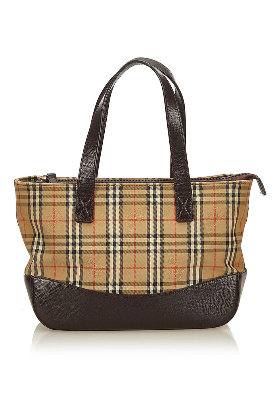 Burberry Plaid Canvas Handbag in Brown, Beige and Multi